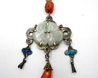 Antqiue Chinese metal chain and jade coral pendant necklace