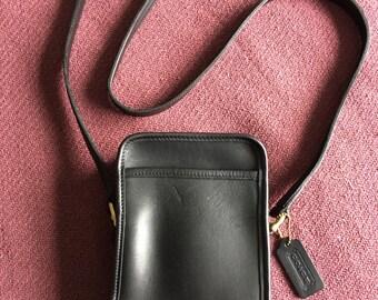 Black COACH Leather Carnival Camera Bag - cross body bag  or shoulder bag - Made in USA