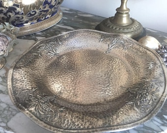 Antique Hammered Silver Footed Tray, Victorian Art Nouveau Silver Plate, Scalloped Tray, Pastry Tray, Boudoir Jewelry Tray