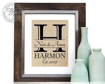 Farmhouse Decor, Wedding Gift, rustic wedding decor, burlap wedding decor, rustic name sign, Christmas Gifts, bridesmaids gift