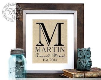 Monogrammed Gift, Burlap Wedding Gift, Housewarming Gift for Couple, Rustic Wedding Sign, Burlap Monogram, Personalized Wedding Gift,