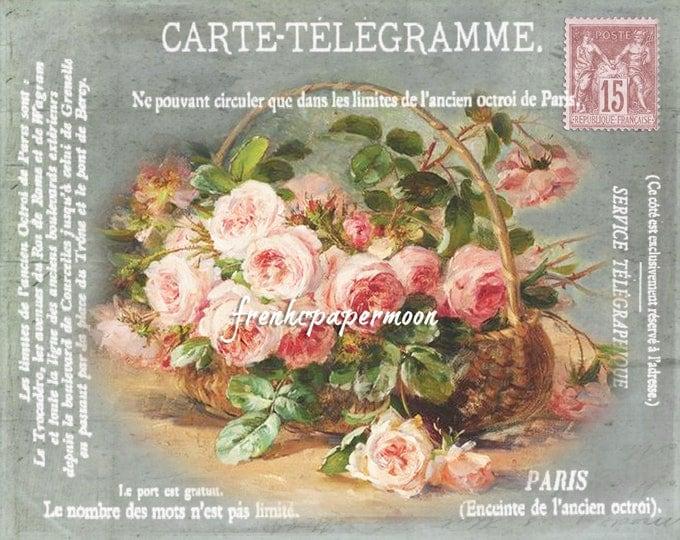 Shabby French style Rose Basket, French Telegram Ephemera, Printable Carte Postale, Fabric Transfer, Digital Graphic