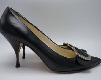 PRADA Black Leather Pumps / Heels with Pointed Toe & Buckles