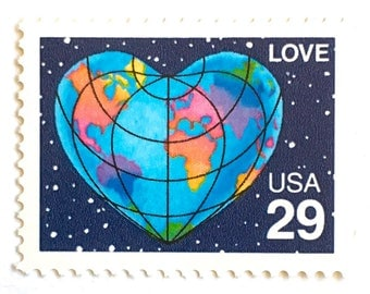 10 Earth Love Stamps // Vintage 1991 Heart Shaped Planet Earth from Space LOVE Stamps // 29 Cent Postage Stamps for Mailing