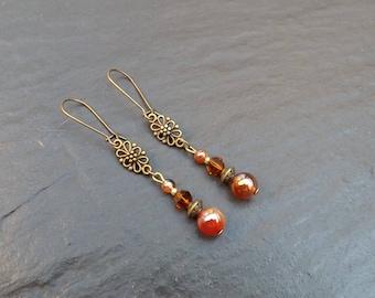 "Earrings ""fire"" carnelian and amber Crystal beads"