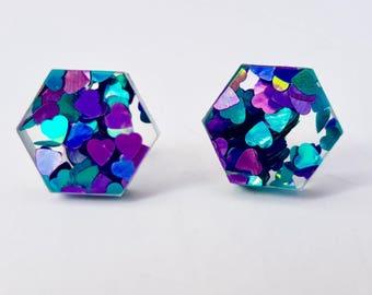 Hexagonal studs - Sparkly Hexagonal - Laser cut earrings - purple heart glitter stud earrings - Laser cut acrylic studs - Acrylic earrings