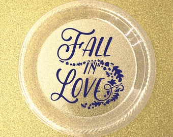 Fall Wedding Personalized Plates, Custom Wedding Plates,  Plastic Plates, Cake & Dessert Plates, Appetizer Plates, Shower Plate, Party Plate
