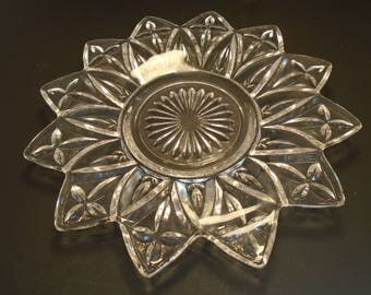 "Federal Glass 6 1/2"" Plate Pressed Clear Glass Petal Pattern"