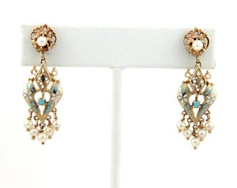 15105 - Victorian Pearls & Enamel 14k Yellow Gold Drop Dangle Earrings