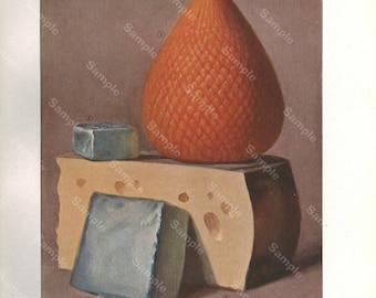 Original Print antique print ,decorative art kitchen decor wall art,food, Fruits, cheese
