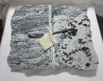 Granite Cheese Board, Large size, black and white mix, includes wrought iron style cheese knife