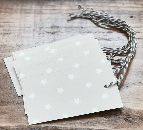 beige/ tan white star print gift favor tags 8 count