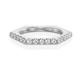 14K White Gold, Wedding Band Ring, Ring Has 6 Sides, 3 of them are pave Setting.  With 15 Diamond Round, Wedding Ring Band 1/2 CTW