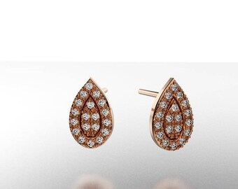 14K  Gold, Earring Pear with 38  Diamond     1/5 CTW