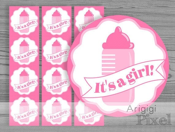 It's a girl printable stickers - baby girl shower printables