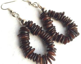 Brown bohemian earrings, Brown boho earrings, Brown bead earrings, Brown stone earrings, Brown Dangle Earrings, Brown hoop earrings
