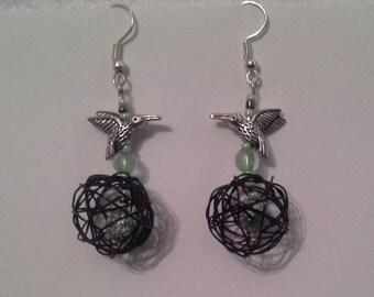 Earrings ball wire gunmetal beads and Tibetan silver Hummingbird charm