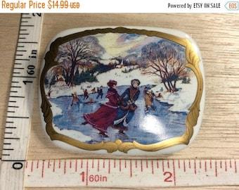 10% OFF 3 day sale Vintage Rectangular Porcelain Litho Pin Brooch Used