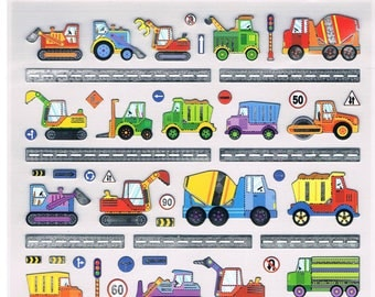 Stickers, construction vehicles, 1 sheet  (1329)