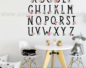 Alphabet Wall Decal - Playroom Wall Decal - Girls Room Wall Decal - Flower Wall Decal - Teen Girl Wall Decals - Play Room Wall Decal 01-0025