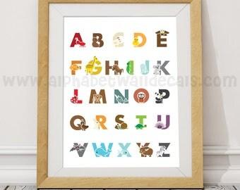 Alphabet Poster, Playroom Poster, Nursery Poster, Alphabet Nursery Art, Nursery Wall Art, Alphabet Art, Alphabet Wall Art, Poster  22-0030