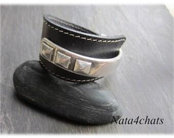 Half ring, black leather, man or woman bracelet