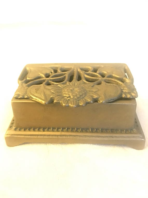 Art nouveau brass stamp holder