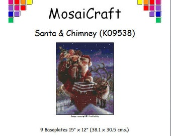 MosaiCraft Pixel Craft Mosaic Art Kit 'Santa And Chimney' (Like Mini Mosaic and Paint by Numbers)