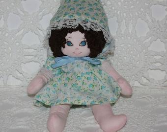 Vintage 9 inch Handmade All Cloth Fabric Girl Doll Brown Hair Blue Eyes