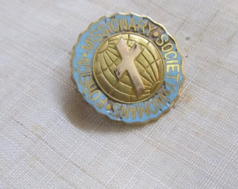 Gold Plated Enamel Woman's Foreign Missionary Pin; Edwardian