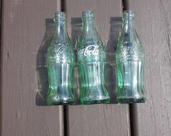 "Coca Cola Bottles x 3; Gary, Ind; green 8 "" coke bottles; collectible"
