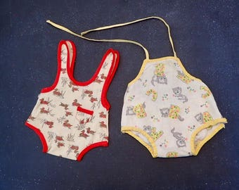 Vintage Doll Clothing Lot of 2 Jumpsuit Sunsuits ABC Kitten & Duck Patterns Quilting Upcycled Altered Art Supply Baby Shower Decor