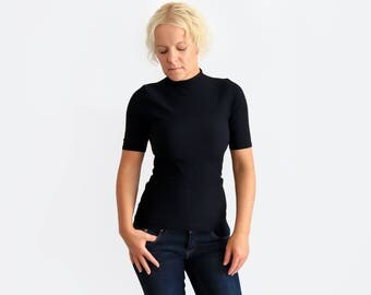 Black Turtleneck, Black Top, Black Mock Neck, Short Sleeve Sweater, High Neck Top, Black Sweater, Roll Neck Top, Short Sleeve Turtleneck