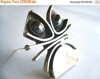 Winters End Sale 1950's Handmade Silver and Hematite Brooch by John Pagacz