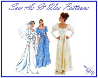 1990s FF Unused Simplicity 8502 Gothic Medieval Wedding Bridal Formal Dress Lace Up Bodice Vintage Sewing Pattern Size 6 8 10 Bust 30 31 32
