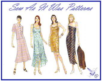"1990s Vogue 1990 Slip Dress Off One Shoulder Slip Crop Jacket Fish Tail Straps Vintage Sewing Pattern Sizes 6 8 10 Bust 30 31 32"" 78 80 83cm"