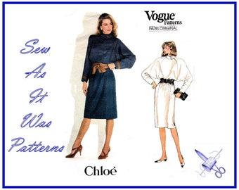 "1980s FF Unused Vogue Paris Original 1086 Chloe Blouson Long Raglan Sleeves Dress Collar Vintage Sewing Pattern Size 12 Bust 34"" 87cm"