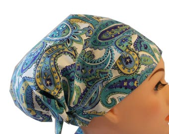 Scrub Hat Cap Chemo Bad Hair Day Hat  European BOHO Pixie Blue, Green and Cream Paisley 2nd Item Ships FREE