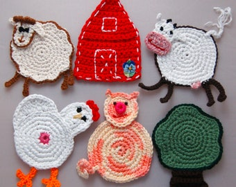 Animal Farm crochet cotton coasters set of 6, Easter gift,friend gift, house warming gift,new handmade
