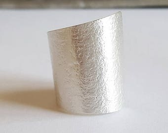 hammered silver tube ring