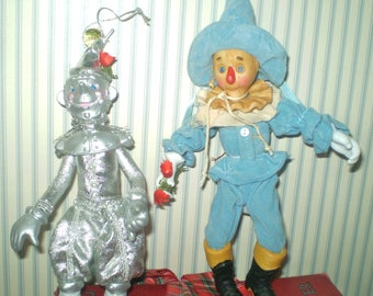 Wizard of Oz Scarecrow and Tin man- 1987 Kurt Adler Porcelain doll OZ characters- semi-poseable Scarecrow & Tin Man Xmas ornaments