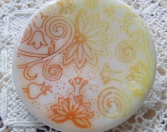 Round orange and yellow polymer clay button, unique clay button, handmade button, focal button, crafts, scrapbooking, knitting, sewing
