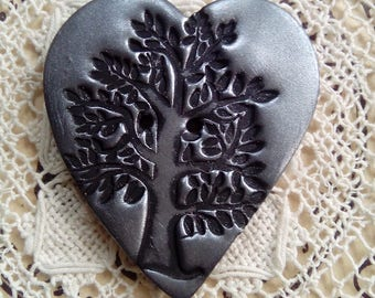 Black and silver button, polymer clay button, handmade button, unique button, tree button, heart shaped button, sewing, knitting, scrapbook