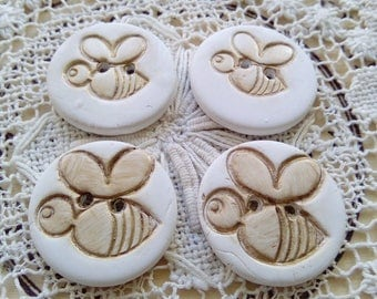 4 bumble bee buttons, polymer clay buttons, small round buttons, white buttons, gold buttons, nature, scrapbooking, sewing, knitting, rustic