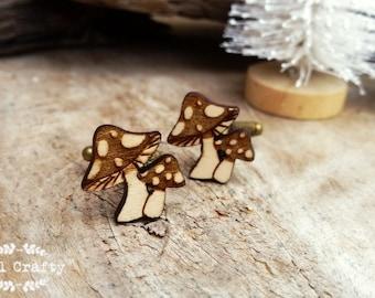 Toadstool Wooden Cufflinks Mushroom Fungus Dad Grooms Best man Groomsman Rustic Wedding Birthday Gift Cuff links