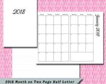 Half Letter / A5 2018 Month on Two Page DATED Calendar Insert