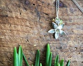 Sterling silver daffodil necklace with yellow opal, citrine and peridot