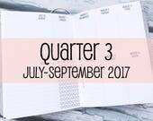 Traveler's Notebook B6 Size Week on Two Pages in VERTICAL Layout {Q3 | July-September 2017} #800-33