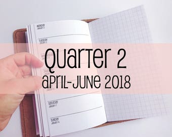Traveler's Notebook PERSONAL Size Week on One Page with Grid {Q2 | April-June 2018} #700-22