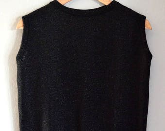Vintage Black Sparkle Knit Sleeveless Sweater / Sweater Vest